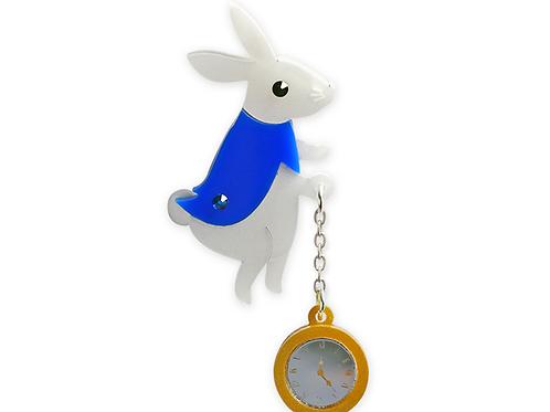 White Rabbit Brooch by Little Moose | Alice in Wonderland