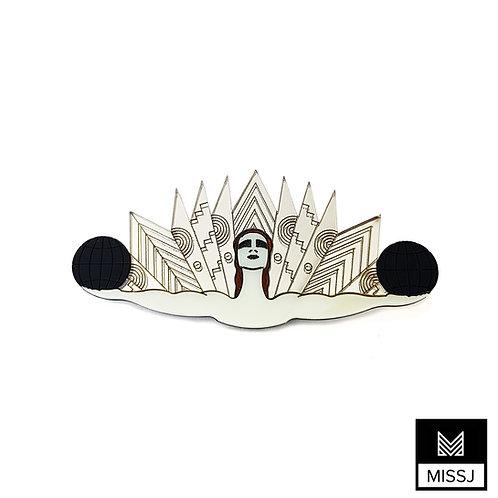 Art Deco Cabaret Dancer Brooch in Gold & Silver by MissJ Design