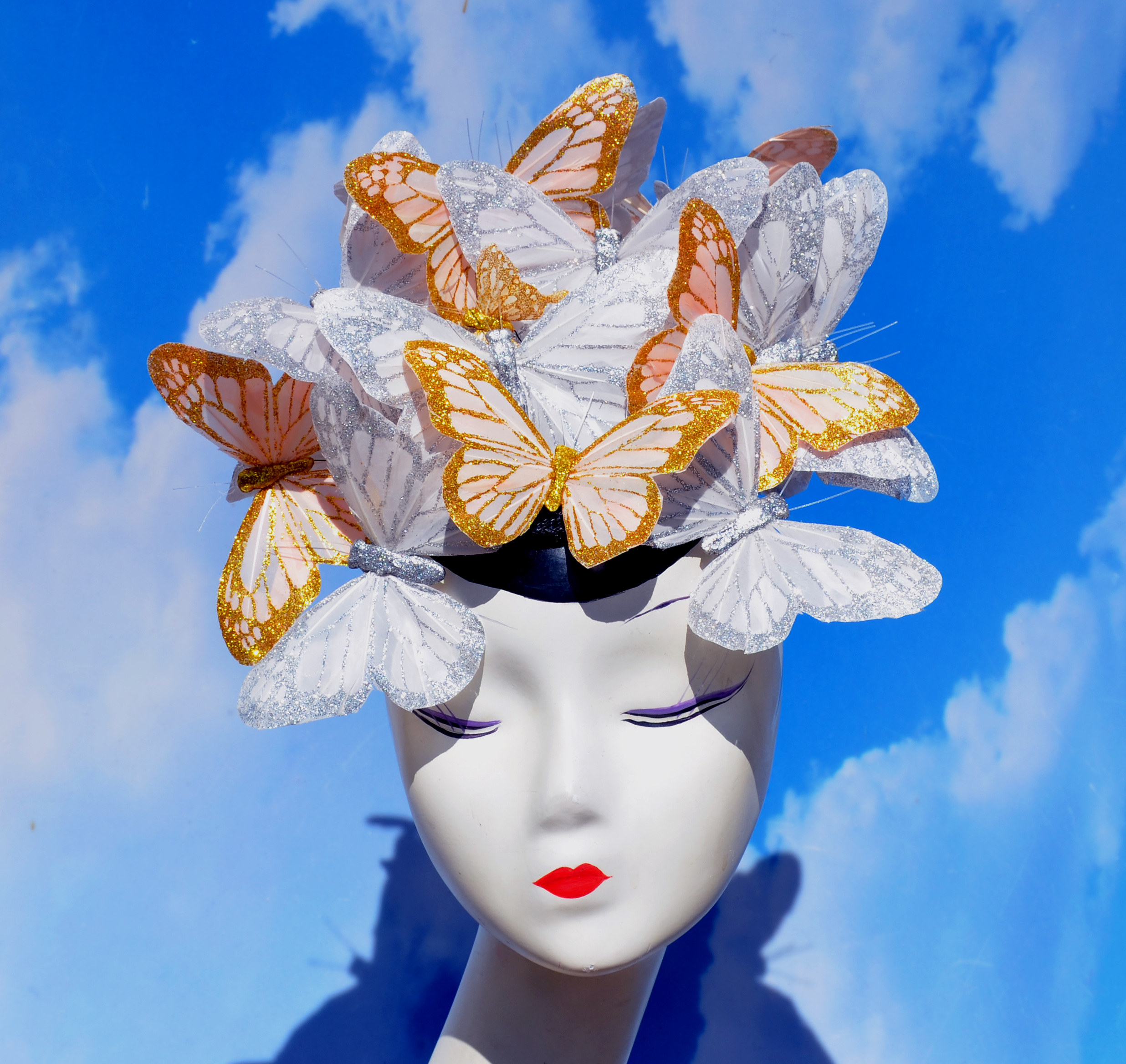 Silver Gold Glitter Butterfly Hat