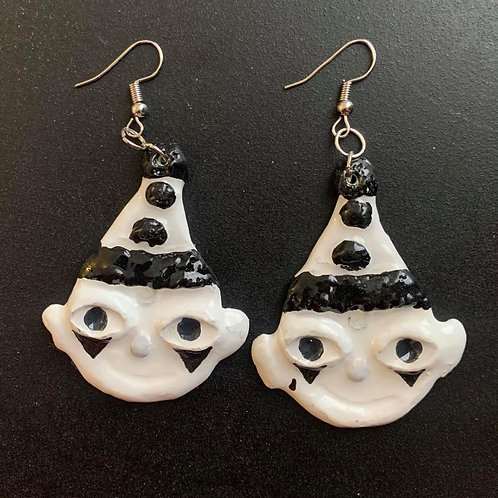 Black & White Pierrot Clown Earrings by Faerie Dust Crafts | Clay Jewelry