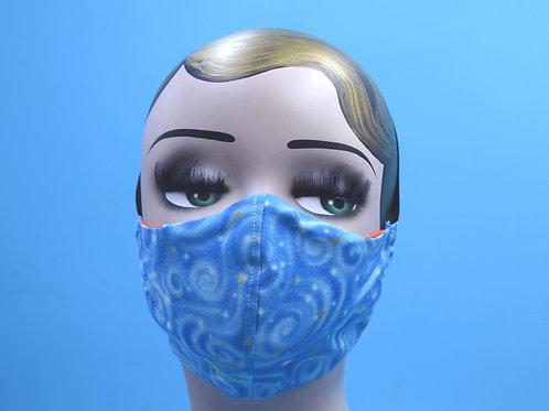 Blue Starry Night Print Face Mask w/ Filter Pocket