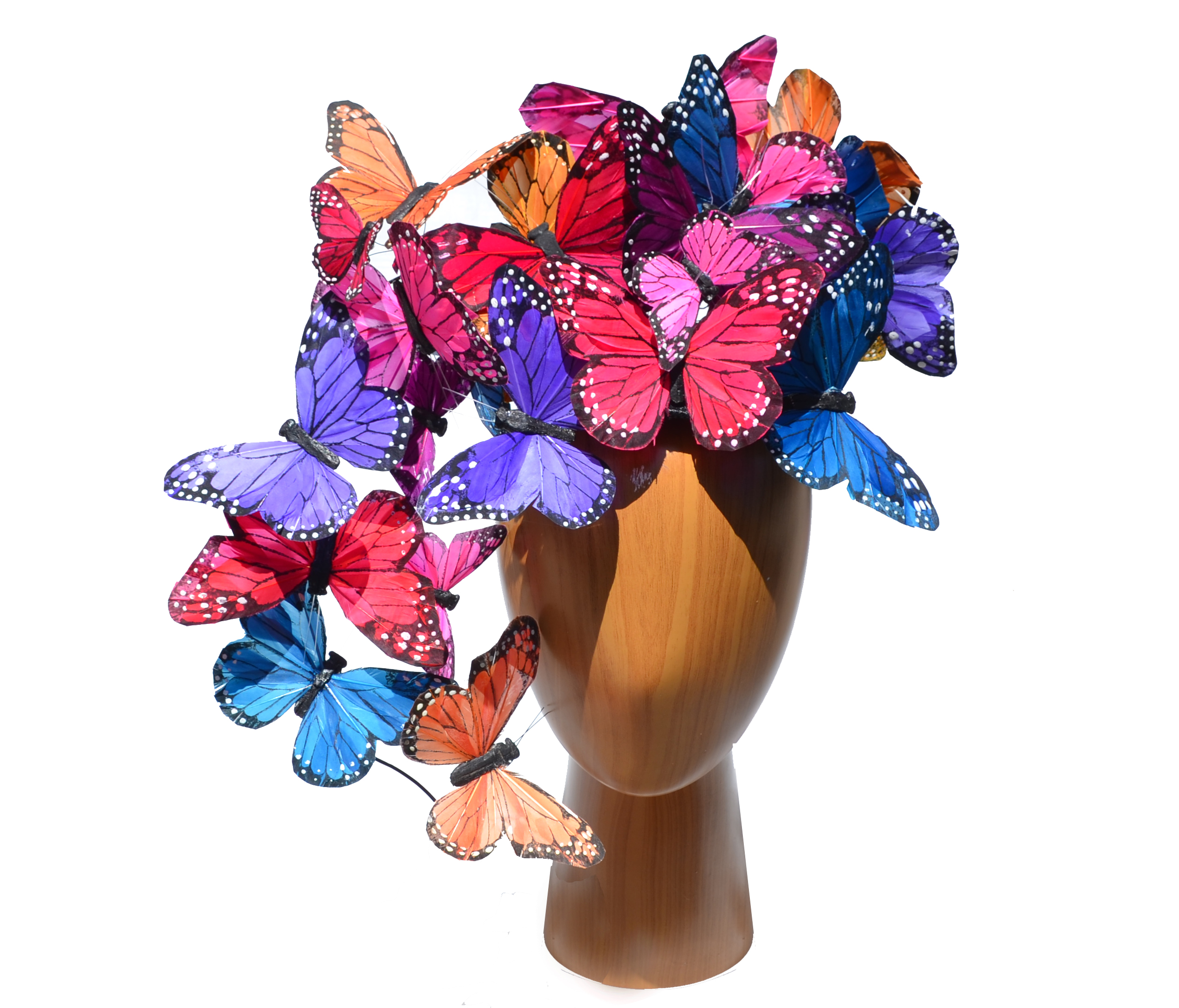 The Madame Butterfly PLUS+ Mixed Color Rainbow Feather Butterfly Swarm Fascinator Hat Hatinator