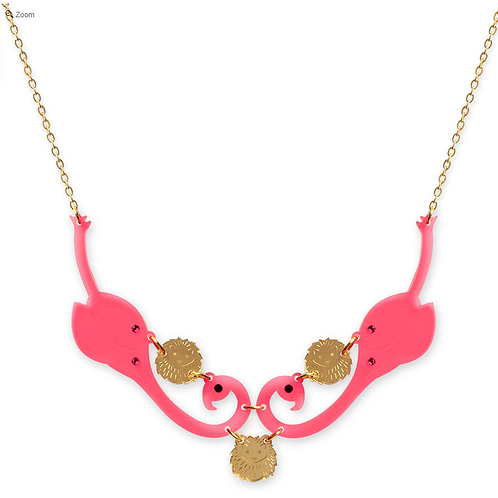 Flamingo and Hedgehog Collar Necklace by Little Moose | Alice in Wonderland