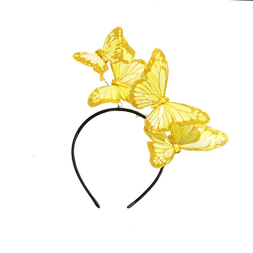 "The ""Mariposa"" Headband - Yellow, White, or 14K Feather Butterfly Headband"