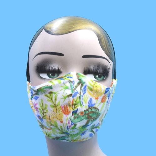 Frog & Plant Life Print Face Mask w/ Filter Pocket