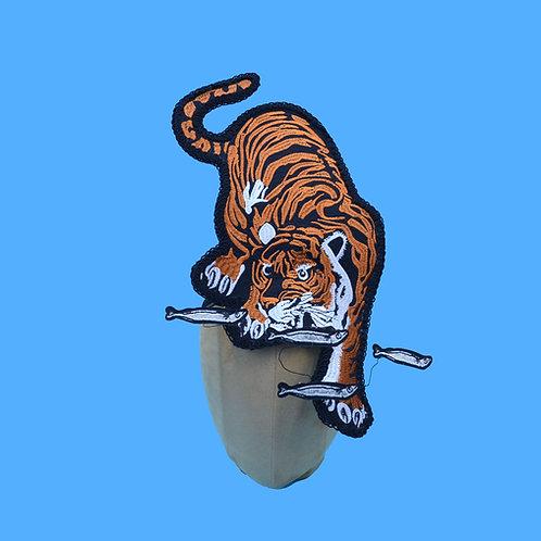 Crouching Tiger Hunting Fish Headdress | Animal Costume Hat | Surreal Fascinator