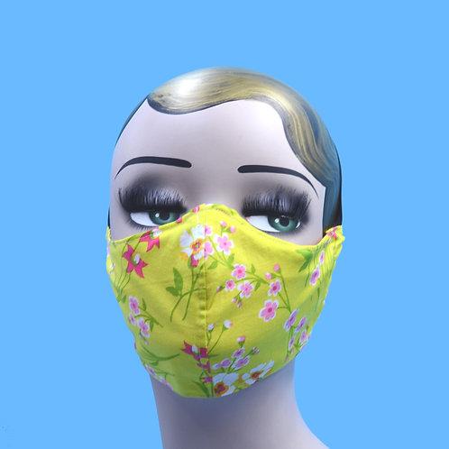 Green Floral Flowers Face Mask w/ Filter Pocket