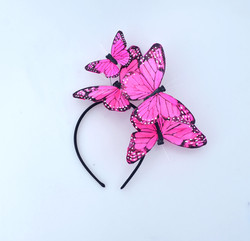Pink Monarch Feather Butterfly Mariposa Headband