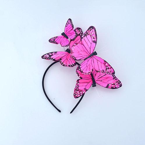 "The ""Mariposa"" Headband - Pink Monarch Feather Butterfly Fascinator Headband"