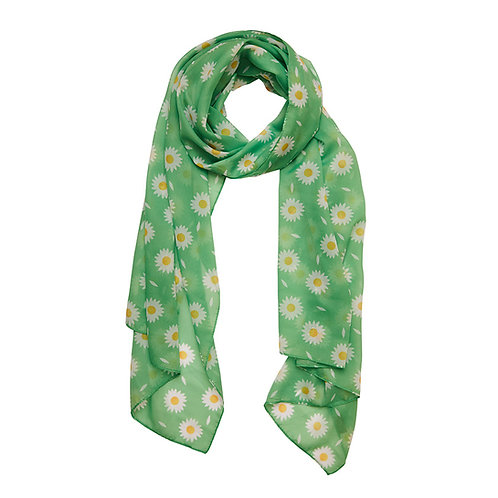 She Loves Me Daisy Neck Scarf (Large) | White Flowers on Green