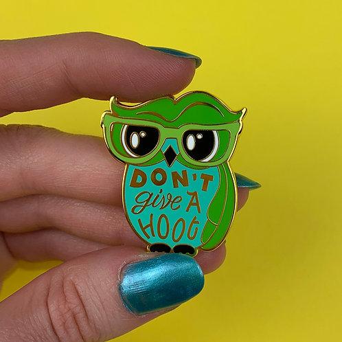 Don't Give a Hoot Enamel Pin by Erstwilder   Green Owl