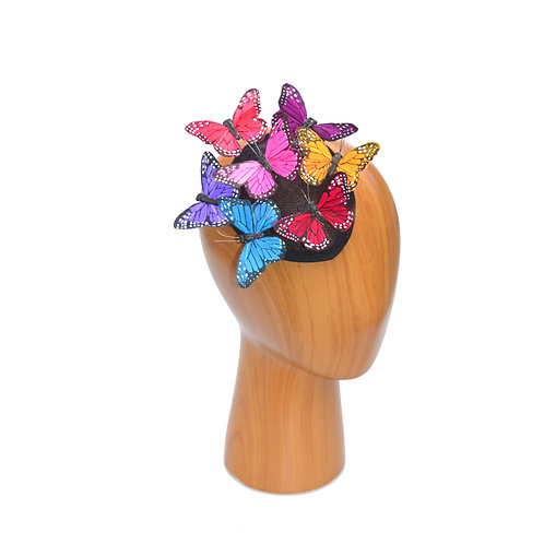 Multicolored Butterfly Teadrop Fascinator Hat