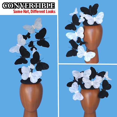 Black and White Effie PLUS+ Feather Butterfly Fascinator Headpiece