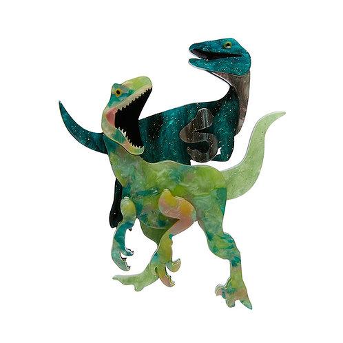 Green Bloody Rapt Brooch | Green Raptor Dinosaur