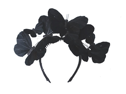 Black or White Feather Butterfly Fascinator Headband