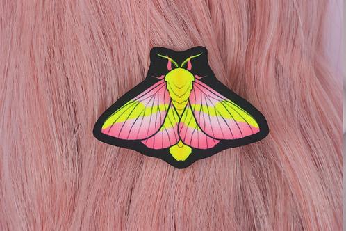 ROSY MAPLE MOTH BARRETTE (BACK FACING) by InterroBangBang  | Pink Yellow