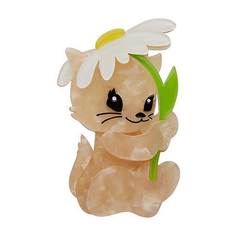 Spring Kitten Brooch by Erstwilder | Brown Cat w/ White Daisy Flower