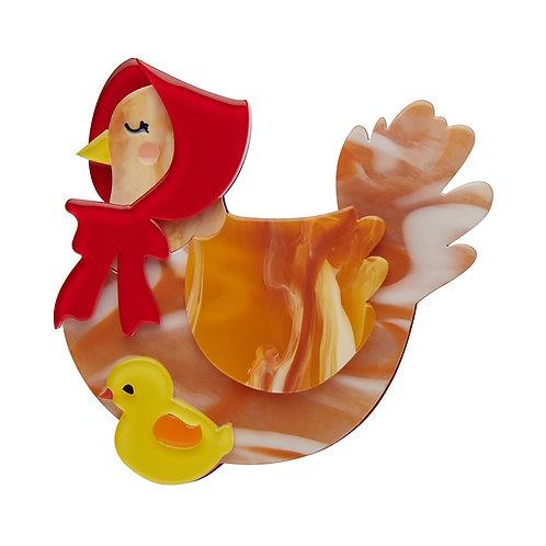 Proud Mother Hen Brooch by Erstwilder | Brown Orange Chicken