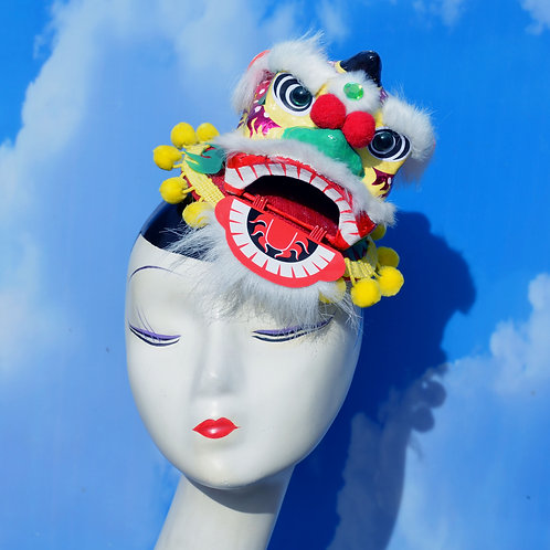 Chinese Dragon Head Red & Yellow Fascinator Hat