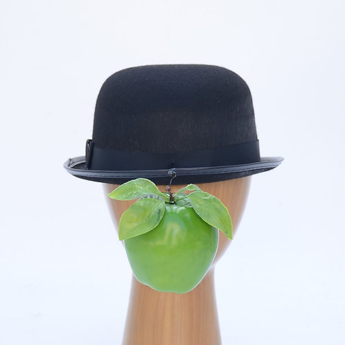 Magritte Green Apple or Dove Black Bowler Hat - Son of Man
