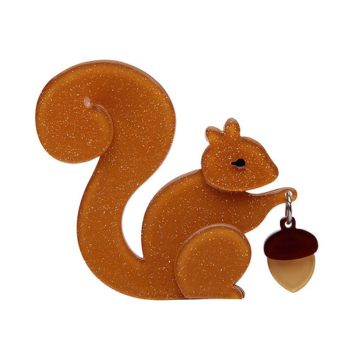 The Satisfied Squirrel Brooch by Erstwilder | Brown Squirrel w/ Acorn