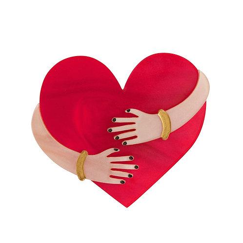 HEART HUG BROOCH by Little Moose   Red Heart Being Hugged