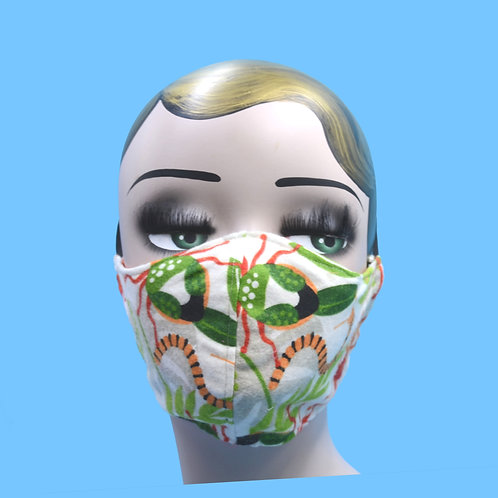 Insect, Bug Print Face Mask w/ Filter Pocket
