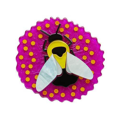 Bumblebee Burrower Brooch by Erstwilder | Bee on Pink Flower