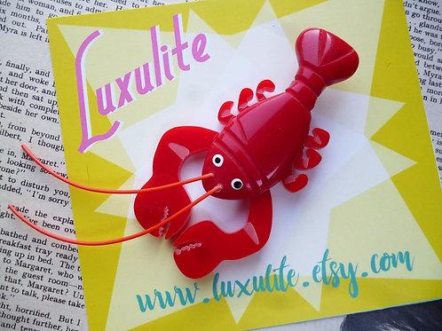 Sassy Novelty Jumbo Red Lobster Brooch - 40s 50s Bakelite Style