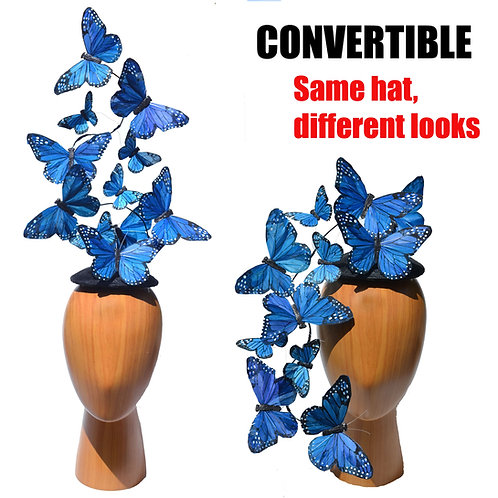 Blue Effie PLUS+ Feather Butterfly Fascinator Headpiece