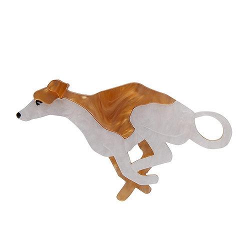 Weightless Whippet Brooch by Erstwilder | White Brown Greyhound Dog