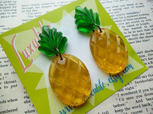 Juicy Pineapple Earrings! Large Vintage-inspired Transparent Bakelite