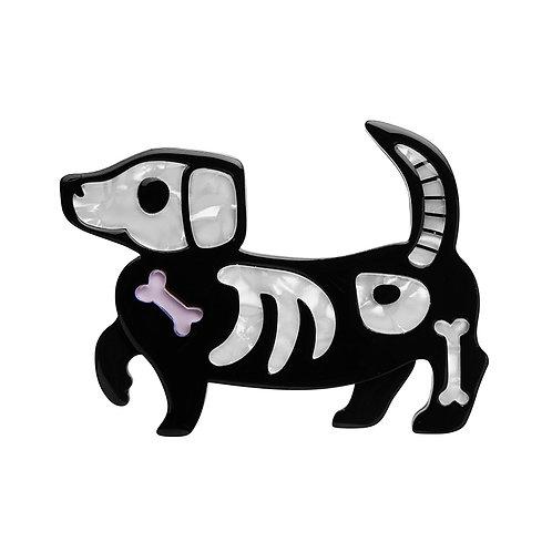Doggo Darkness Brooch by Erstwilder | Puppy Dog Skeleton Bones