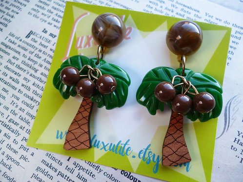 Coconut Grove Earrings - Tropical Palm Tree Vintage Inspired Bakelite