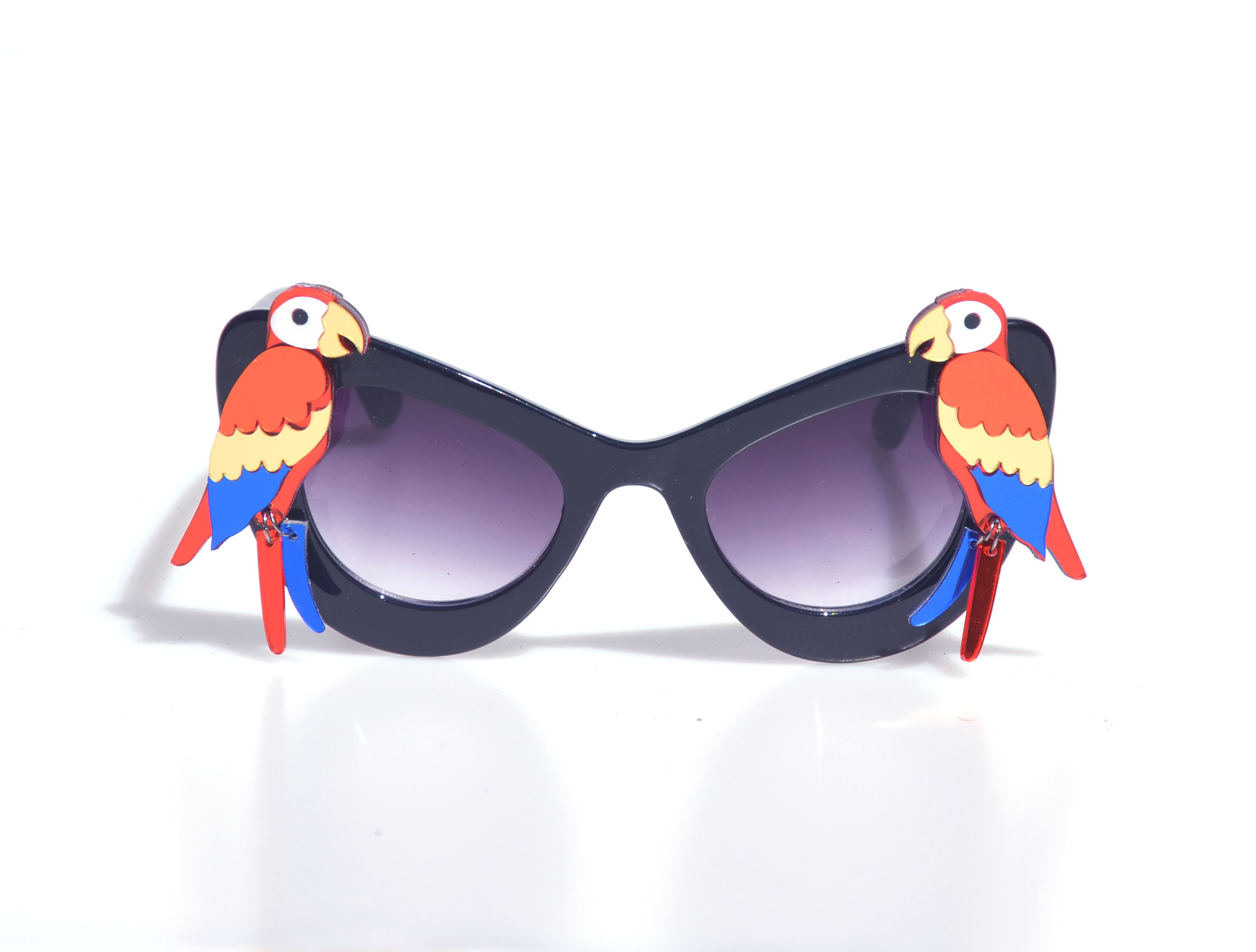 Laser-Cut Acrylic  Red Parrot Black Sunglasses