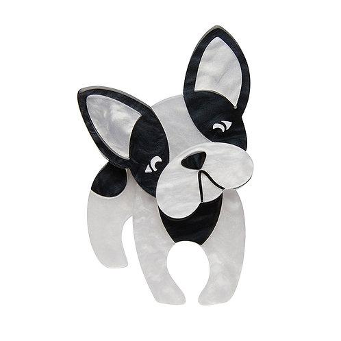 Fabian the French Bulldog Brooch by Erstwilder | Black WhiteDog
