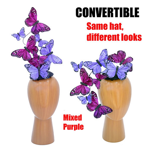 Convertible Purple Butterfly Feather Fascinator