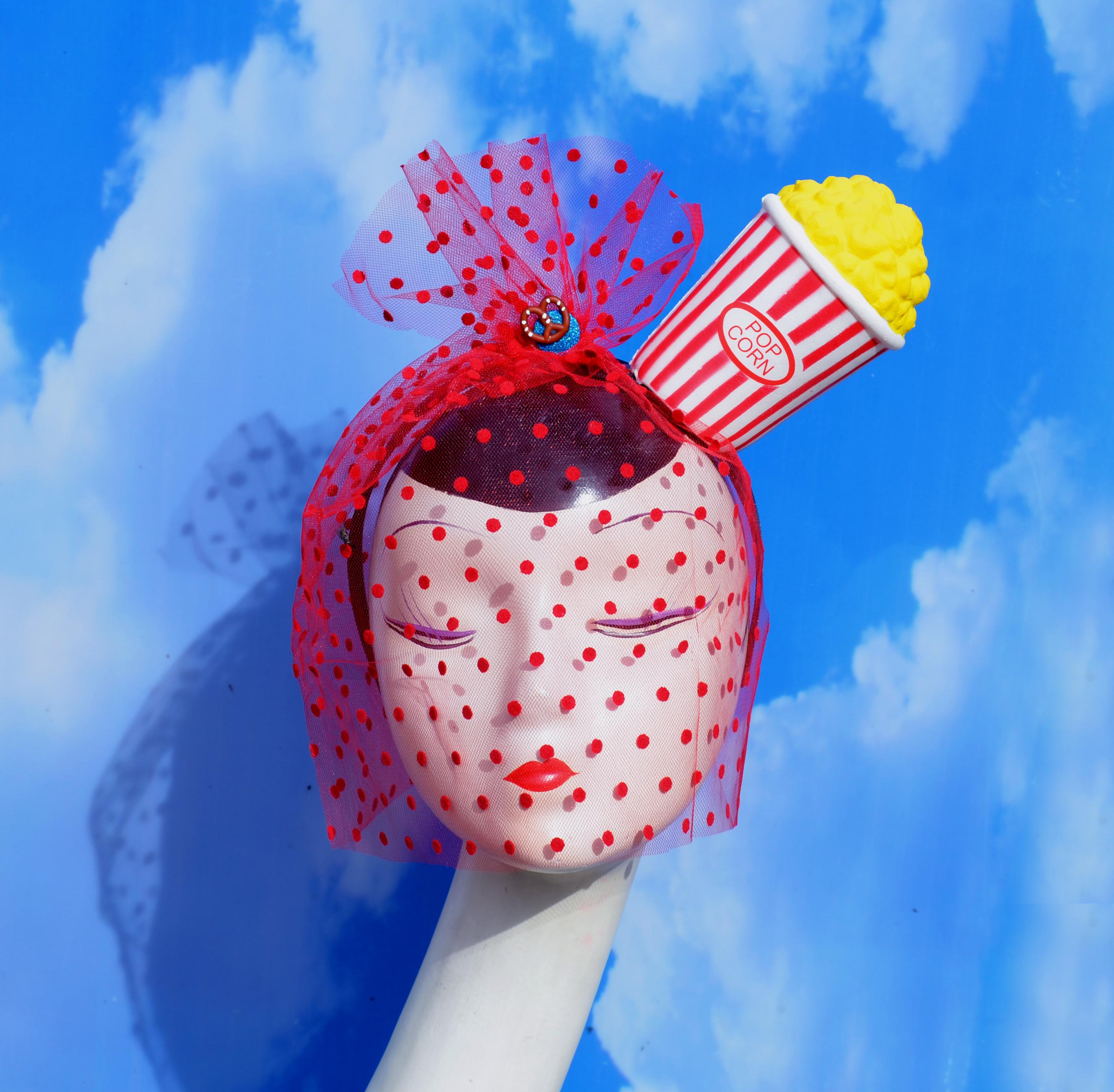 Bucket of Popcorn Costume Headpiece with