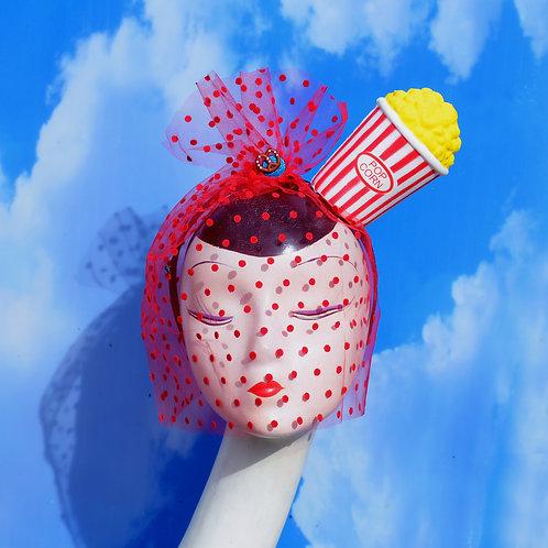 Red Bucket of Popcorn Pinup Costume Headband w/ Polka Dot Veil