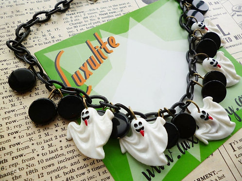 Friendly Ghosts! Vintage Style Novelty Halloween Trick or Treat Ghost Necklace
