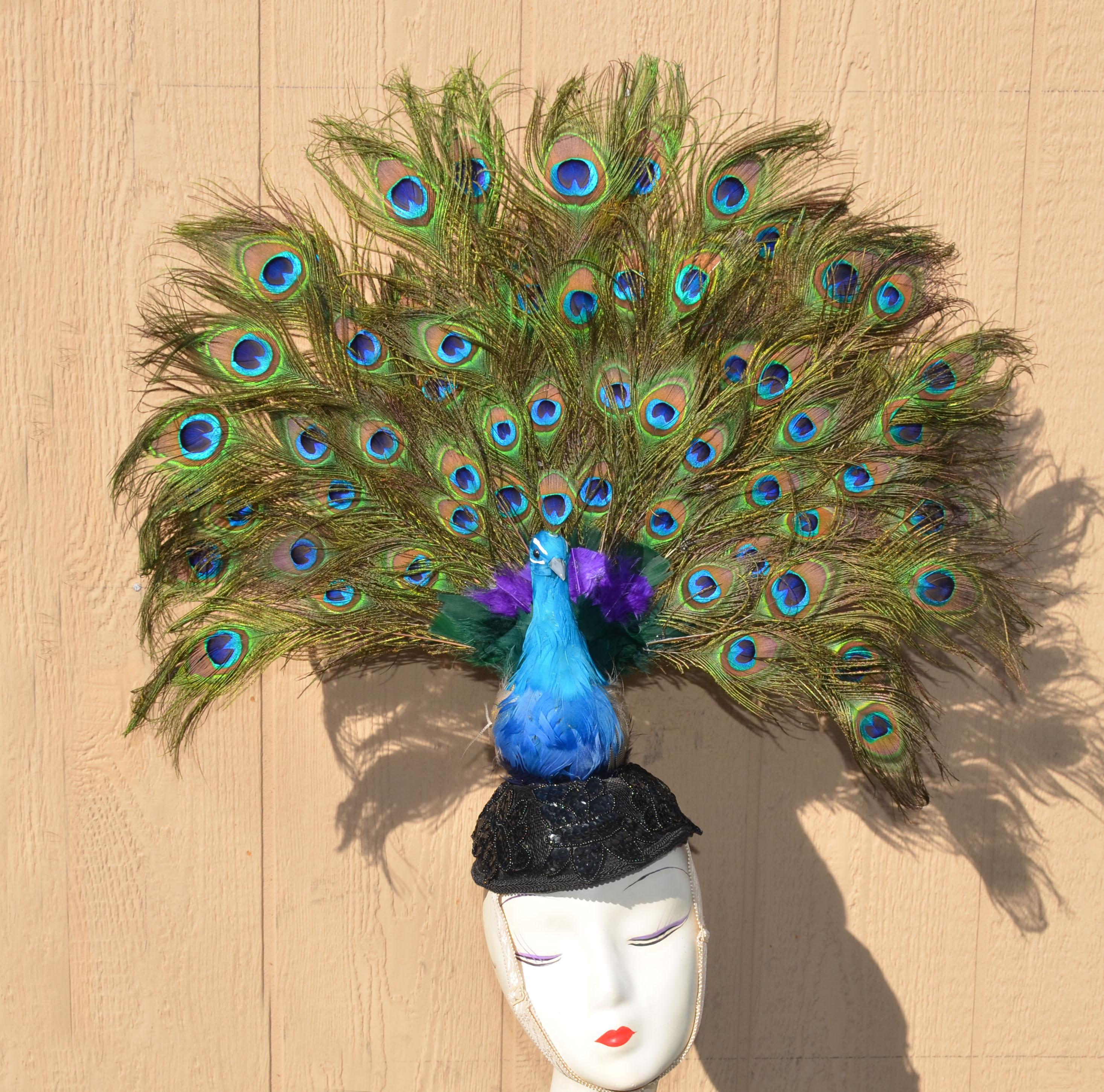 Peacock Tail Fan Headpiece Costume