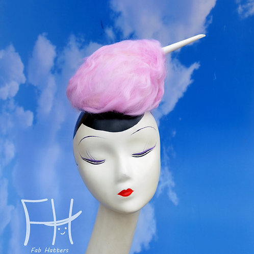 Small Pink Cotton Candy Costume Fascinator Hat