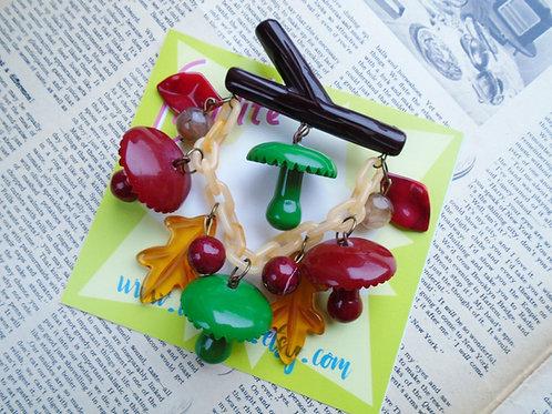 XL Woodland Mushrooms Cascade Brooch by Luxulite