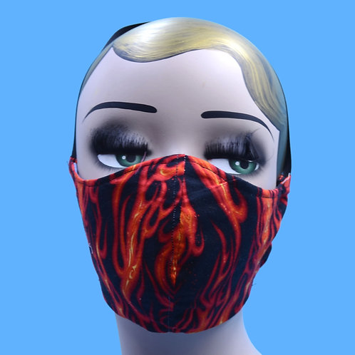 Fire Flame Print Face Mask w/ Filter Pocket