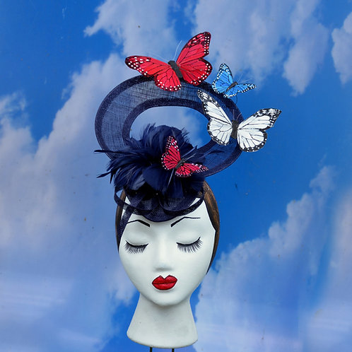 Navy Blue w/ Red White Blue Butterflies Racing Hat