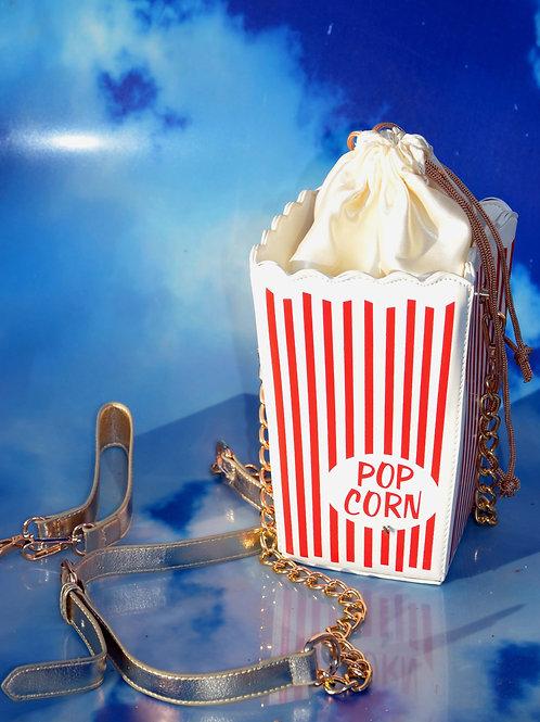 Retro Red White Striped Popcorn Box Handbag Purse