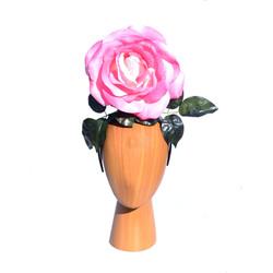 Small 22cm Pink Rose Headband Headpiece.