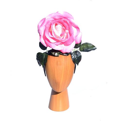 Pink Flower Girl Rose Queen Headband Headpiece Fascinator