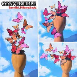 Warm Color Butterfly Feather Effie+ Plus Fascinator Hatinator