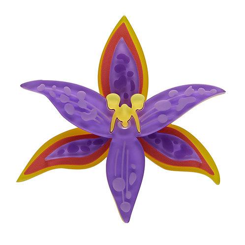 Queen of Sheba Brooch by Erstwilder | Purple Orange Orchid